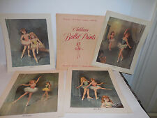 Set 4 Girls Ballet Dance Prints Vintage 1970's Donald Art Co. & Original Folder