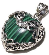 NEW GORGEOUS Solid 925 Sterling Silver Genuine Malachite Heart Pendant 7.8gr