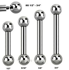 """8Ga 1/2"""", 9/16"""", 5/8"""", 3/4"""" 1Pc. Surgical Steel Tongue Ring Barbell"""