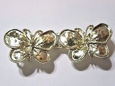 SMALL BUTTERFLY BRIGHT GOLD TONE BUCKLE TWO PIECE VINTAGE DETAILED