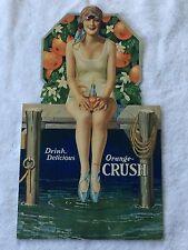 Rare Never Used 1920's Orange Crush Die Cut Cardboard Sign, Bathing Beauty Girl!