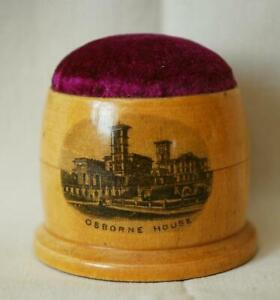 Mauchline Transfer Ware Velvet Pin Cushion Beehive Shape Pin Storage Compartment
