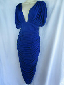 Vtg 80s Lillie Rubin ELECTRIC BLUE Draped Pleats Disco Cocoon Wiggle Party Dress