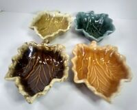 "Vintage Set of 4 Hull Ceramic Leaf Bowls Made in USA Ovenproof 7.5"" x 5"" x 1.5"""