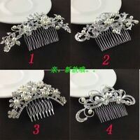 Women Girls Butterfly Rhinestone Crystal Wedding Flower Pearls Hair Comb Hairpin