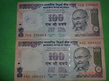 - India Paper Money- 2 Old 'Mg' Notes-Rs. 100/-Year 'Nil'-Two Signs-G-46,52#Ean