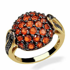 Black Spinel Fire Opal Cluster Ring 925 Sterling Silver for Women Size 7 Ct 1.4