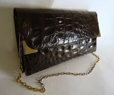VINTAGE BROWN  SMOOTH ALLIGATOR SKIN CONVERTIBLE SHOULDER CLUTCH BAG CHAIN STRAP