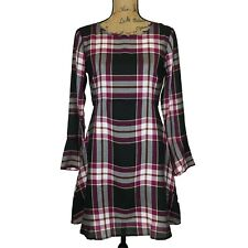 NEW Ann Taylor LOFT Dress 0 P XS White Black Purple Tan Plaid Bell Sl Bow Back
