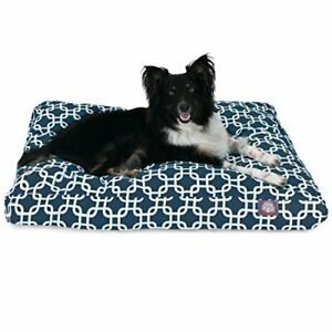 Navy Blue Links Medium Rectangle Indoor Outdoor Pet Dog Bed With Removable Wa...