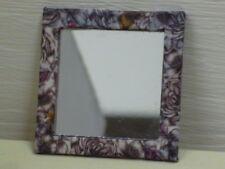 Dolls House Miniature Mirror Hand Decorated Pink Purple White Mirror 1:12
