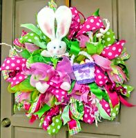 Handmade Easter Bunny Deco Mesh Wreath Pink & Green Polka Dot Spring Door Decor