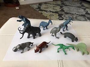 Vintage Lot Of 1960's Marx MPC? Dinosaurs Metallic Blue, Brown, Gray, Green VG