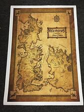 Game Of Thrones Houses Map Westeros And Free Cities 28 x 41 in- CANVAS No Frame