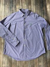Ralph Lauren Oxford Shirt Mens XXL Button Up Long Sleeve Purple Checked Gingham
