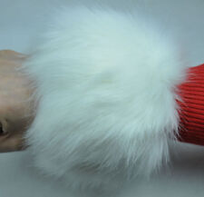 2Pcs Faux Fox Fur Raccoon Fur Cuffs Furry Wrist Warmer Ankle Leg Warmer White