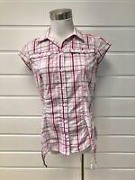 KATHMANDU Womens Pink White Plaid Short Sleeve Button Down Shirt - Size 10
