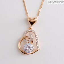 Womens Rose Gold Plated Necklace - Heart Shaped Pendant and Chain
