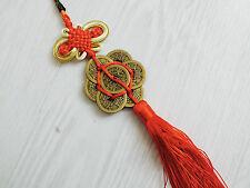 L chino suerte nudo encanto colgante rojo moneda de cobre de 7 Feng Shui Nuevo Año Fiesta A9