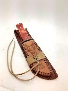 """Vintage 60's 9"""" Imperial Prov Carved Elk Hunting Knife Leather Sheath"""