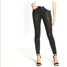 NWT $98 EXPRESS 00R BLACK MOTO COATED MID RISE ANKLE LEGGING JEANS ANKLE ZIPPERS