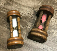 Vintage NEVCO 3-Minute Japanese Egg Timers (White and Pink sand pair)