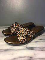 Women's Size 10 Italian Shoemakers Damiani's Leopard 2 inch Wedge Slide Sandals