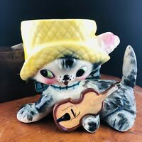 Vtg Napco Gray Cat Playing Guitar Ceramic Planter Anthropomorphic Hat Feather