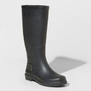 A New Day Women's Amalee Waterproof Rain Boots - Black - Size 8 - New