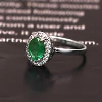Natural Zambian Emerald Halo Cluster Ring Handmade 925 Sterling Silver Women Her
