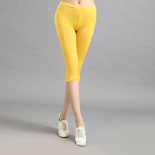 Ladies Womens Cropped 3/4 Capri Length Leggings Summer Skinny Pants Trousers