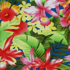 Large Bright Tropical Hawaiian Flowers Blue Quilt Sew Fabric TRANS-PACIFIC