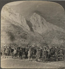 WW I STEREOVIEW SERBIAN TROOPS IN THE BALKAN MOUNTAINS.