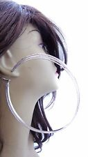 LARGE TRIPLE HOOP EARRINGS FROSTED MATTE GOLD OR SILVER TONE 4.75 INCH HOOPS