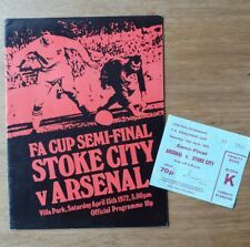 1972 FA Cup Semi Final Programme AND Ticket - Arsenal vs Stoke City