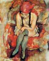 Claudine Resting by Jules Pascin  Art Model Headscarf Stockings 8x10 Print 356