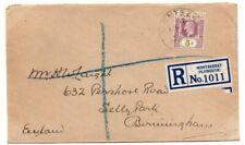 Montserrat - Leeward Islands KGV 5d on 1927 registered cover to UK