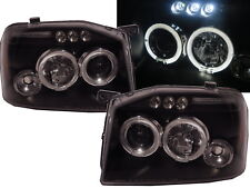 FRONTIER D22 2001-2004 LED Halo Projector Headlight BLACK EURO for NISSAN RHD