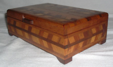 Antique PARQUETRY INLAY Letter Document Jewelry Trinket BOX ARROWS 3 Sides & Lid