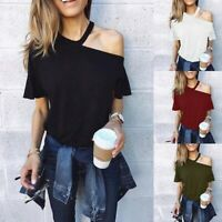 Summer Fall New Women Off Shoulder Cotton Casual Short Sleeve T Shirt Blouse Top