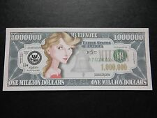 Taylor Swift $1 million Dollar Note Nouveauté Bill $1,000,000 chanteur auteur-compositeur