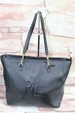 RALPH LAUREN Anstey Halee BLACK LEATHER Tote PURSE Bag Medium Handbag Gold $258