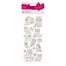 Papermania Para colorear Pegatinas Brillantes - Búhos tarjetas y manualidades