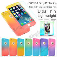 360° Full Body Protect Hybrid Case Cover +Tempered Glass For iPhone & Samsung