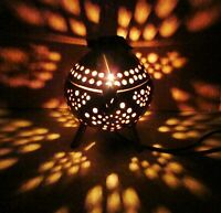 Coconut Shell Lamp Small Wood Handmade Bedside Table Night Light Wooden Shade