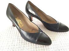 Vtg Salvatore Ferragamo 2 tone Black Patent Leather/Navy Blue Heels Pumps 6.5 B