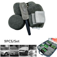9-piece Car Wash Cleaning Tool Kit Supplies Waxing Cake Tire Brush Sponge Gloves