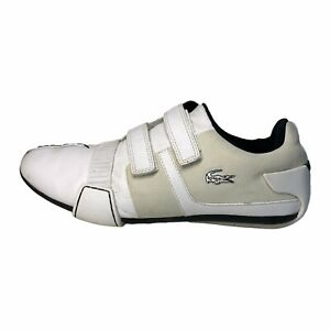 Lacoste Men's Vito Leather & Suede White Hook & Loop Sneakers Lace Up Size 8M