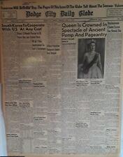 1953 Vintage Newspaper Queen Elizabeth II Crowned Britain's Seventh Queen