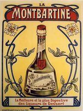 """""""LIQUEUR LA MONTBARTINE"""" Affiche originale entoilée Litho années 20 64x84cm"""